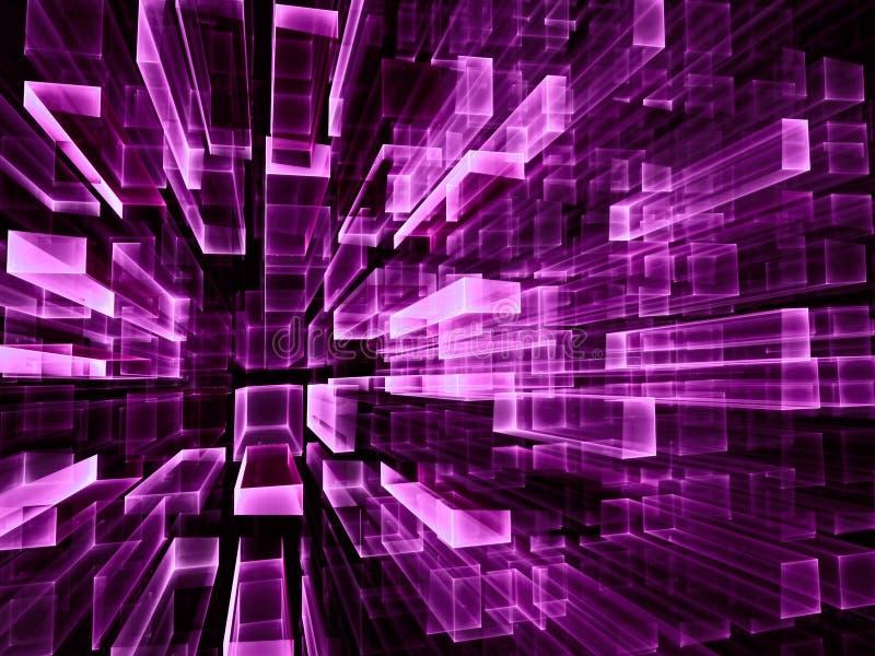 Fondo púrpura de la tecnología - ejemplo generado por ordenador abstracto 3d ilustración del vector