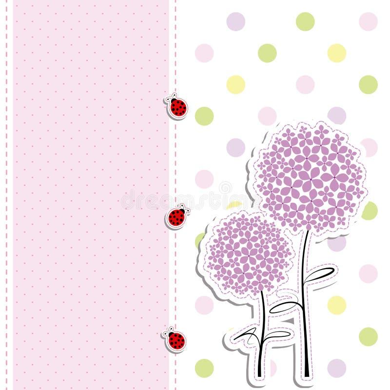 Fondo púrpura de punto de polca de la flor del diseño de tarjeta stock de ilustración