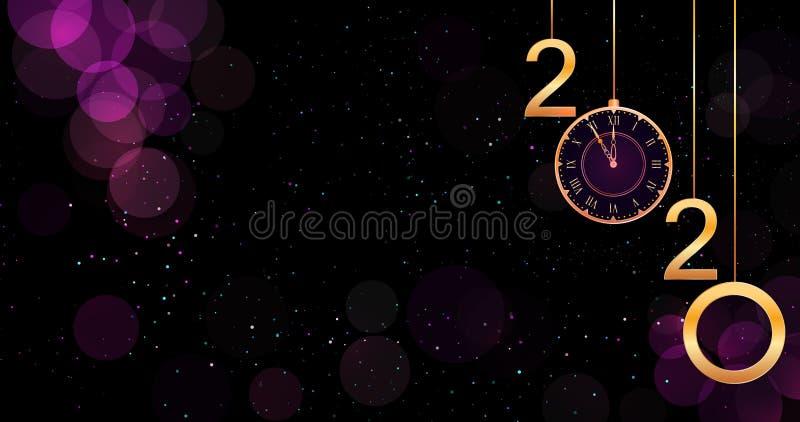 Fondo púrpura del bokeh de la Feliz Año Nuevo 2020 con el reloj de oro de los números y del vintage de la ejecución ilustración del vector