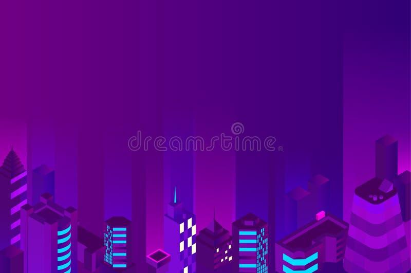Fondo púrpura del paisaje urbano de la noche con los edificios stock de ilustración