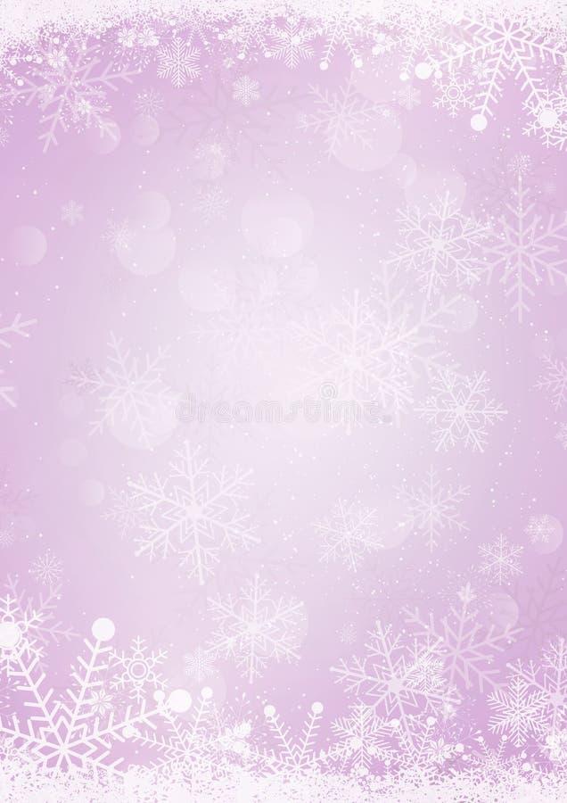 Fondo púrpura en colores pastel de papel del día de fiesta de la nieve del invierno stock de ilustración