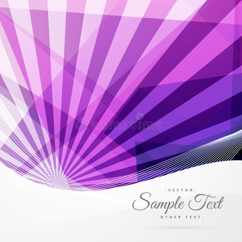 Fondo púrpura enrrollado abstracto con los rayos y las formas geométricas libre illustration