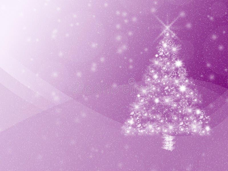 Fondo púrpura vibrante de las vacaciones de invierno, con el árbol de navidad y el copyspace blancos stock de ilustración