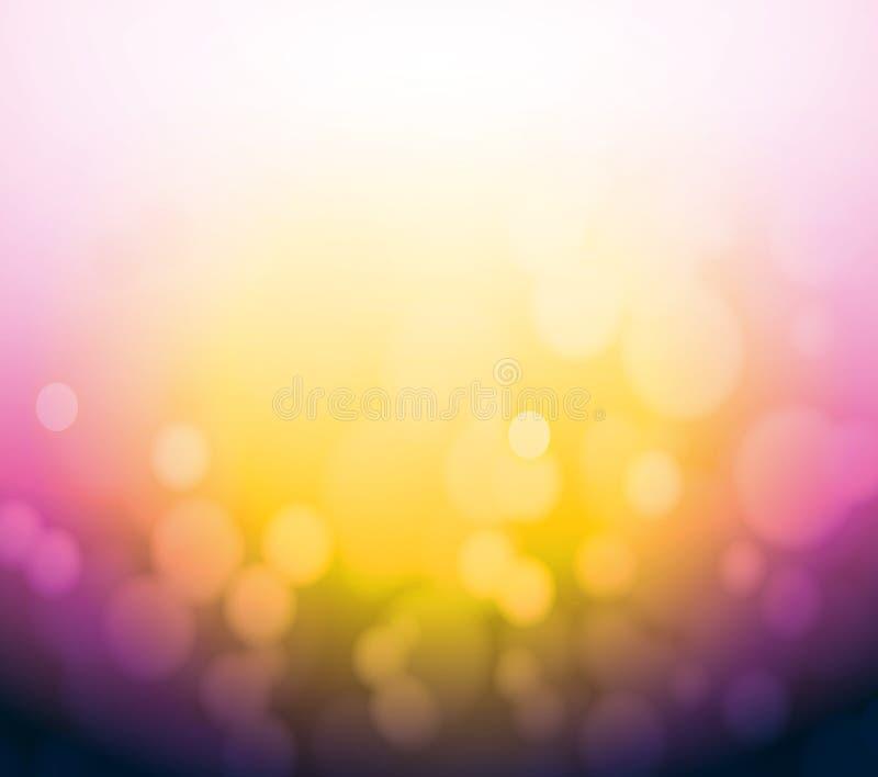 Fondo púrpura y amarillo de la luz del extracto del bokeh. ilustración del vector