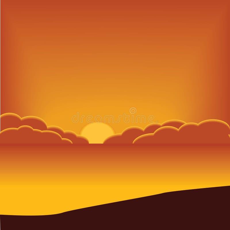Fondo, paisaje natural: puesta del sol anaranjada, mar y playa stock de ilustración
