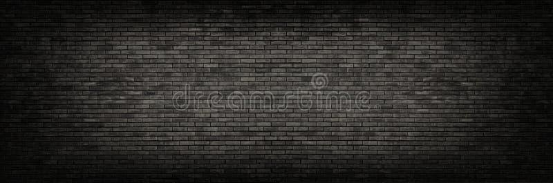 Fondo panoramico del muro di mattoni nero fotografia stock libera da diritti