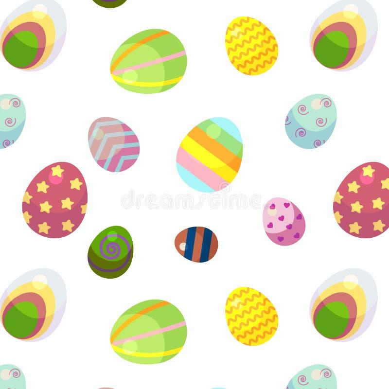 Fondo para el día feliz de Pascua Los huevos de Pascua decorativos con diversos modelos y diversos tamaños ilustración del vector