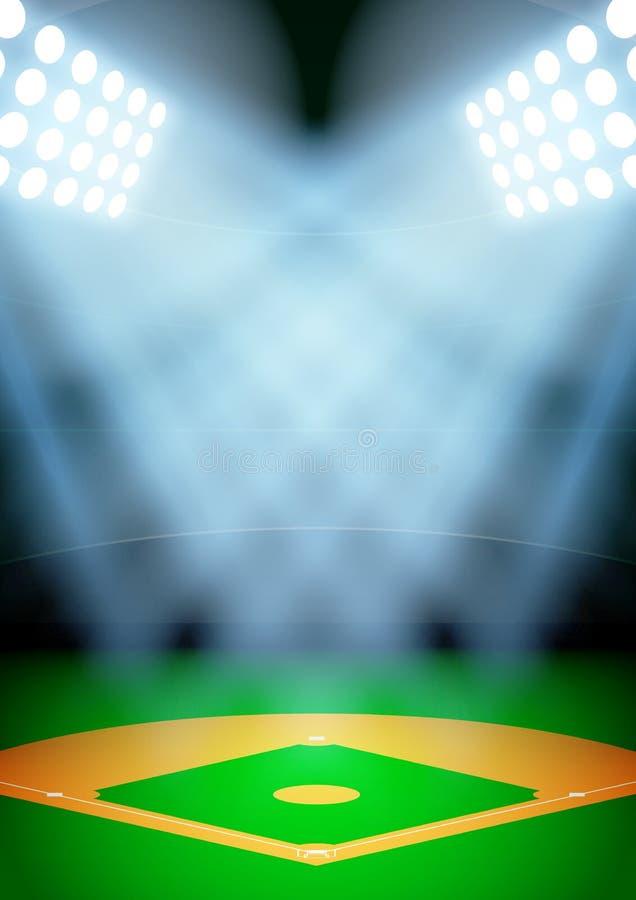 Fondo para el estadio de béisbol de la noche de los carteles adentro stock de ilustración