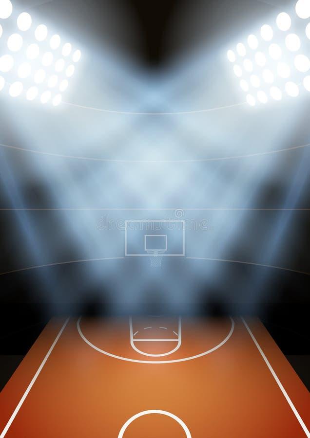 Fondo para el estadio del baloncesto de la noche de los carteles adentro stock de ilustración