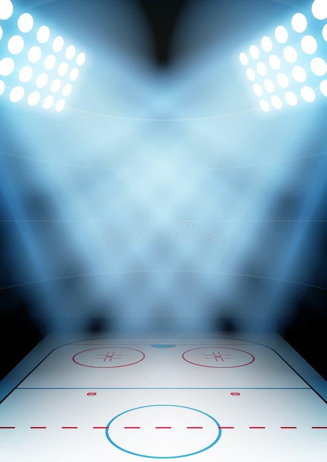 Fondo para el estadio del hockey sobre hielo de la noche de los carteles adentro ilustración del vector