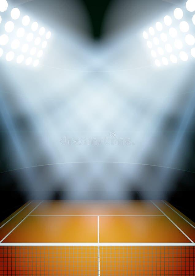 Fondo para el estadio del tenis de la noche de los carteles en stock de ilustración