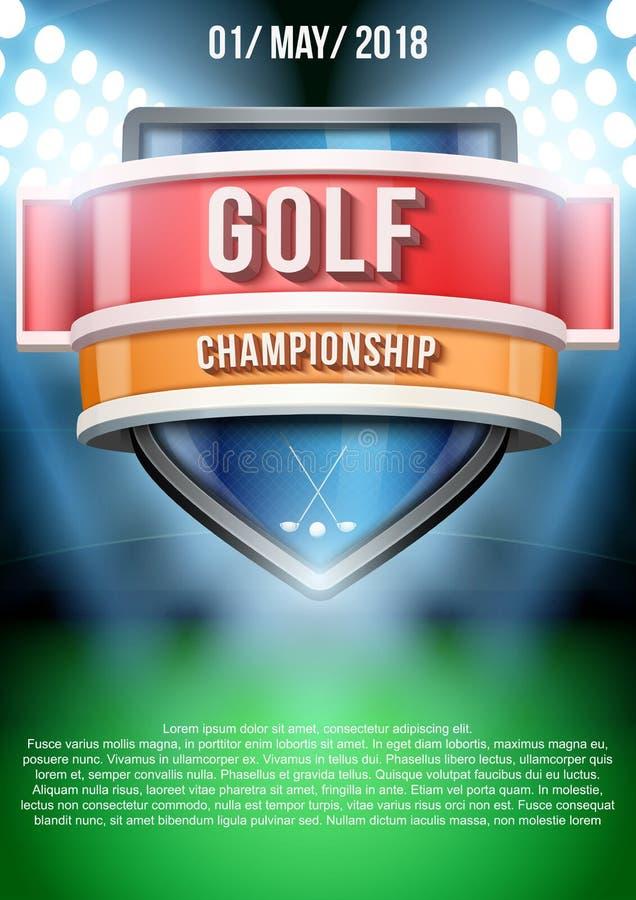 Fondo para el juego de campo del golf de los carteles ilustración del vector