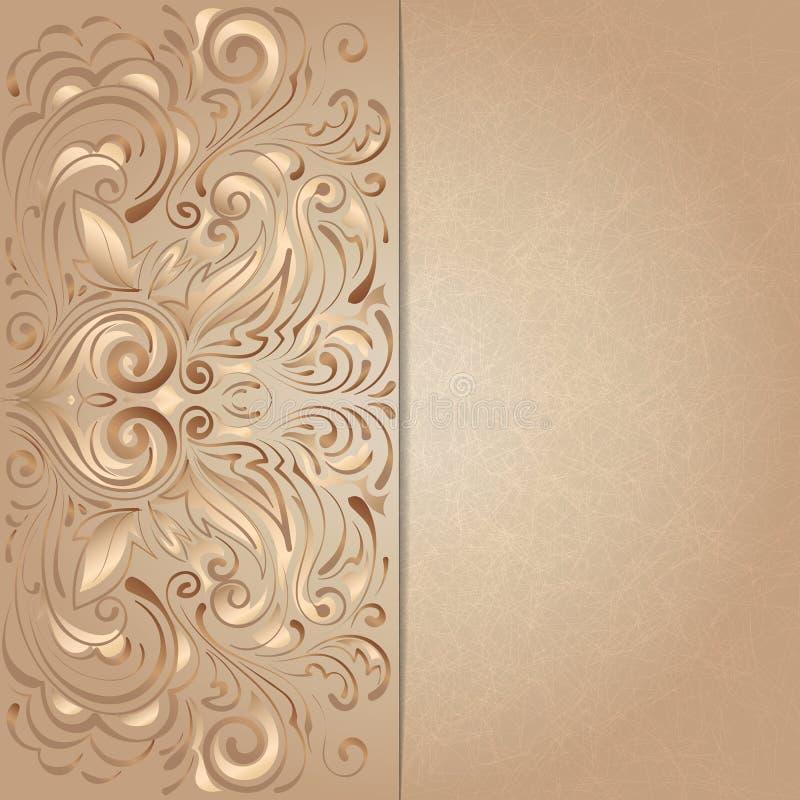 Fondo para la invitación con floral marrón ilustración del vector