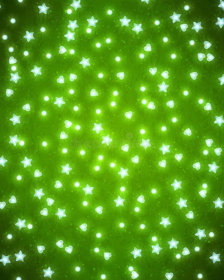 Fondo para la tarjeta de la Feliz Navidad y de la Feliz Año Nuevo con las luces chispeantes realistas Vector stock de ilustración