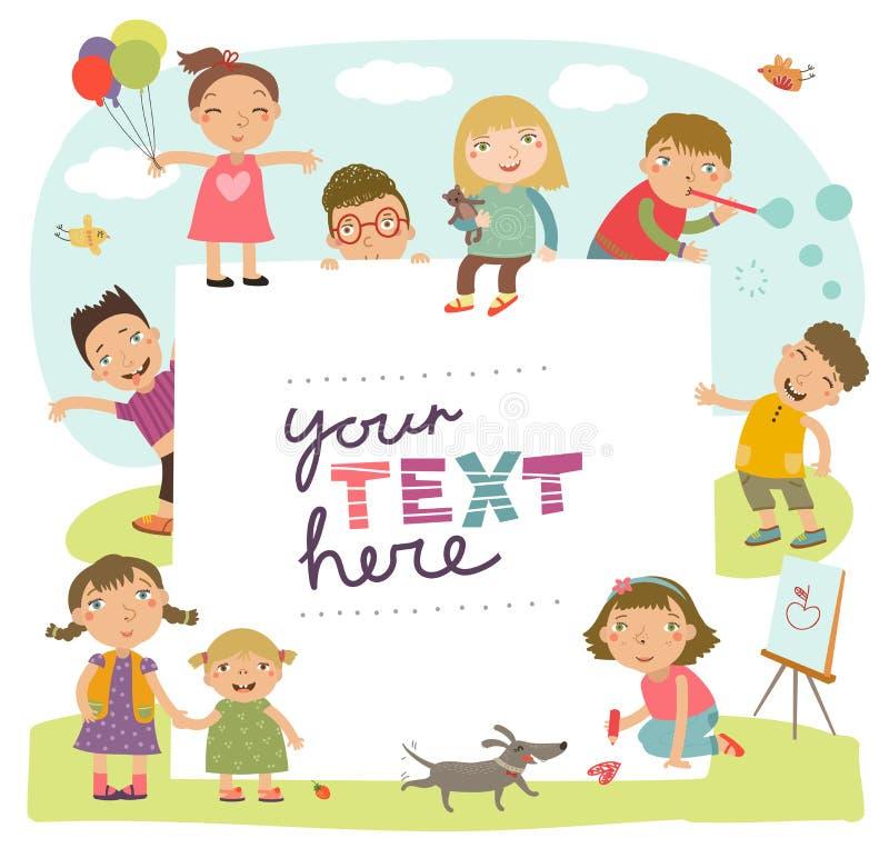 Fondo para una inscripción con jugar lindo de los niños ilustración del vector