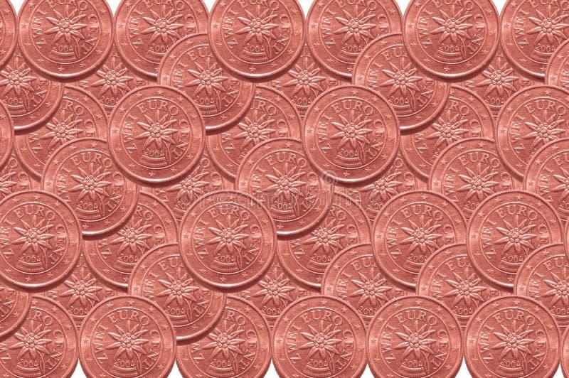 Fondo a partir de dos monedas de los centavos euro imagenes de archivo