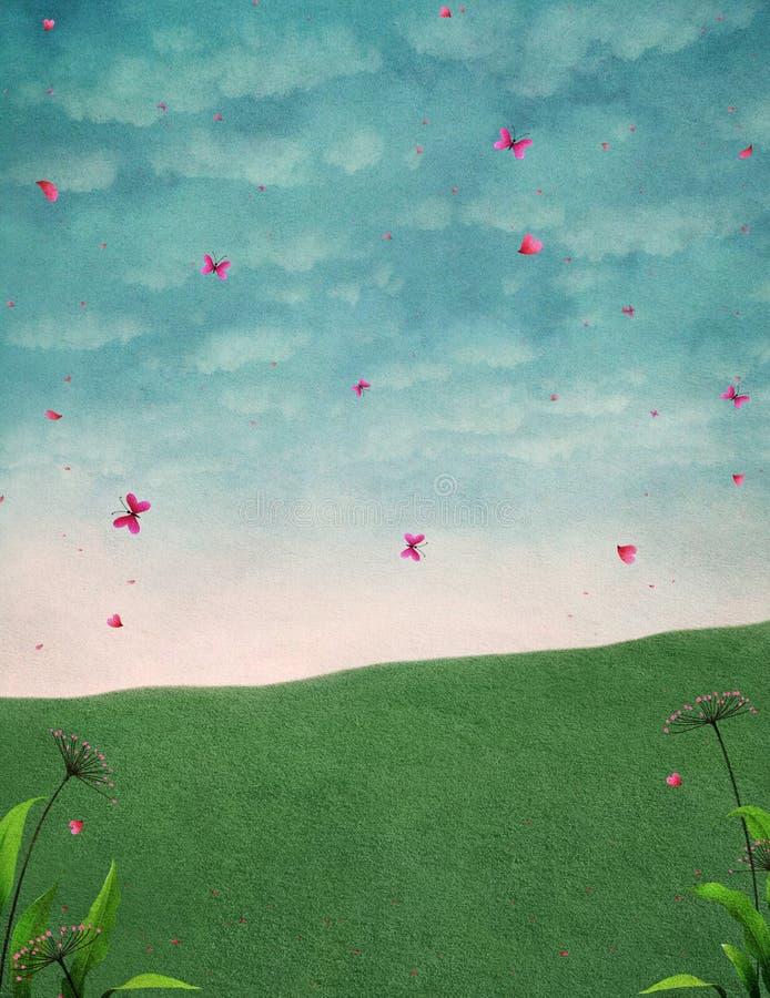 Fondo pastello con il cielo ed il prato illustrazione vettoriale