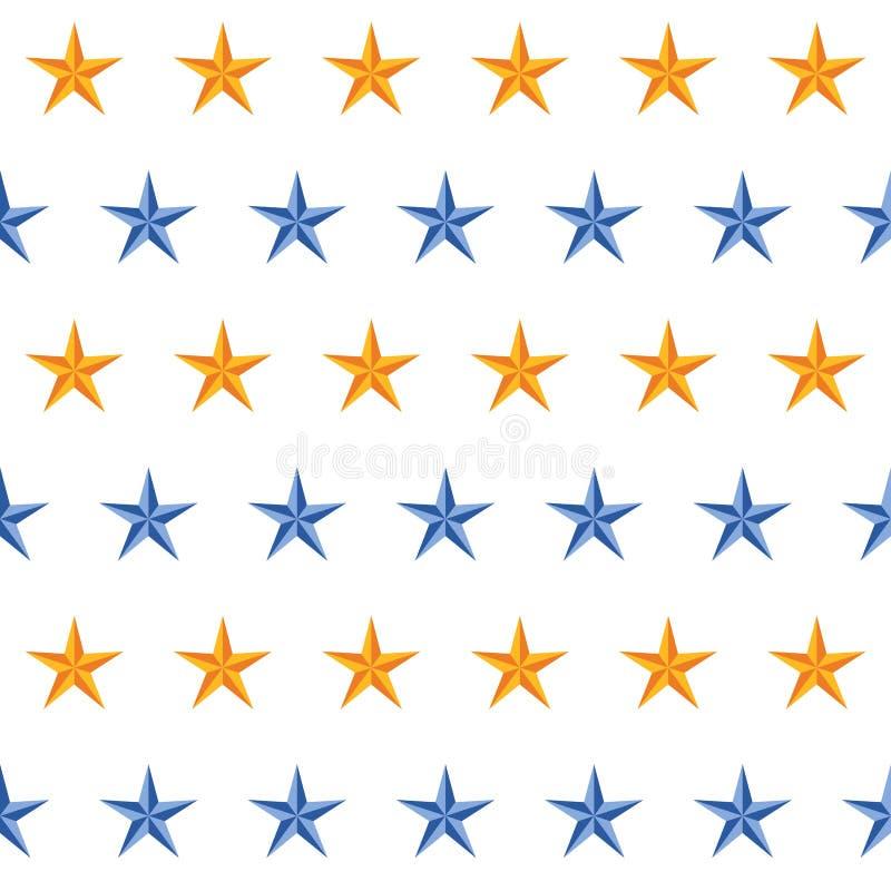 Fondo patern abstracto de la estrella dicromática amarilla y azul Dise?o incons?til de Tileable stock de ilustración