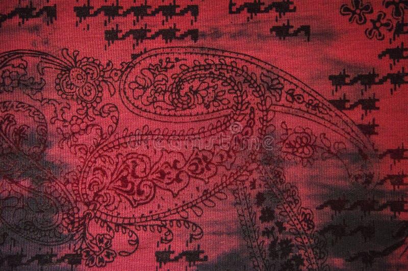 Fondo patern indio rojo de la tela foto de archivo