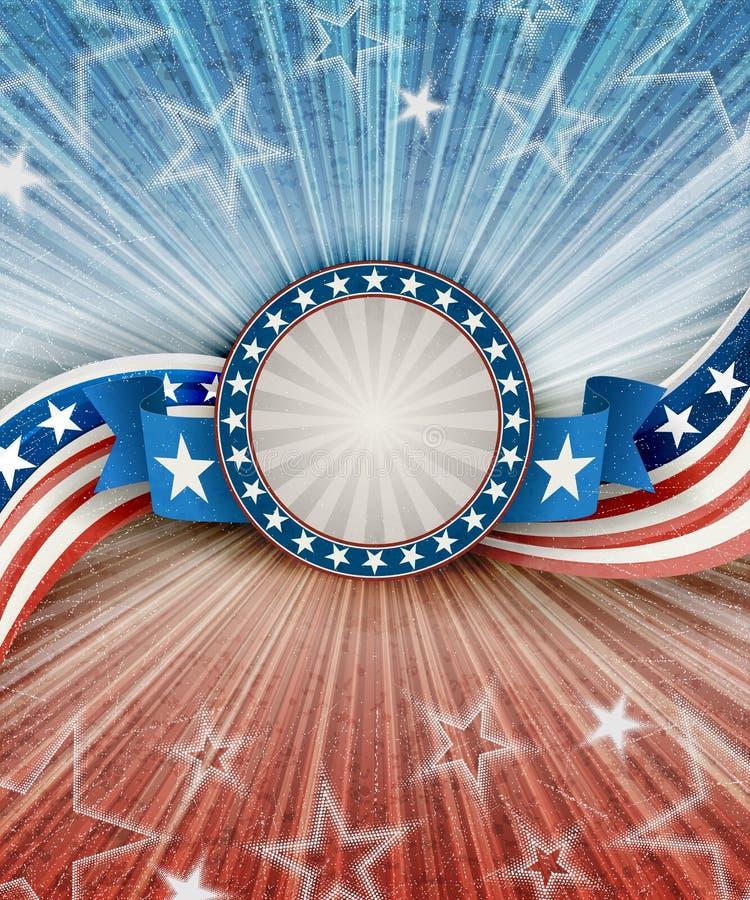 Fondo patriótico americano abstracto con la bandera stock de ilustración