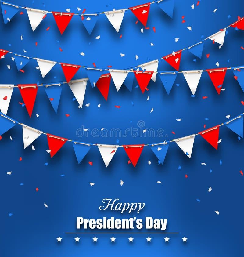 Fondo patriótico con las banderas del empavesado para presidentes felices Day libre illustration