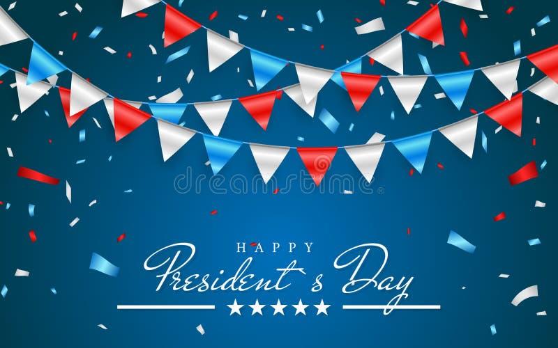 Fondo patriótico del ejemplo con las banderas del empavesado para presidentes felices Day y el confeti de la hoja , Colores de lo libre illustration