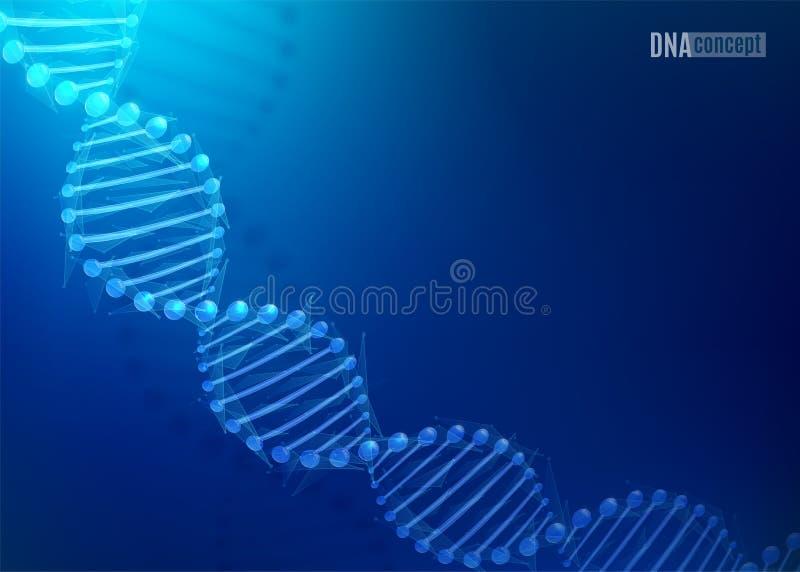 Fondo per biomedico, salute, progettazione di vettore di tecnologia di scienza del DNA di chimica E modello di stile 3D illustrazione vettoriale