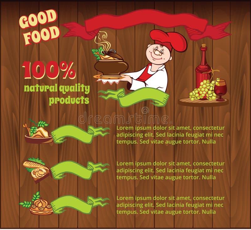 Fondo per il modello dell'alimento illustrazione di stock