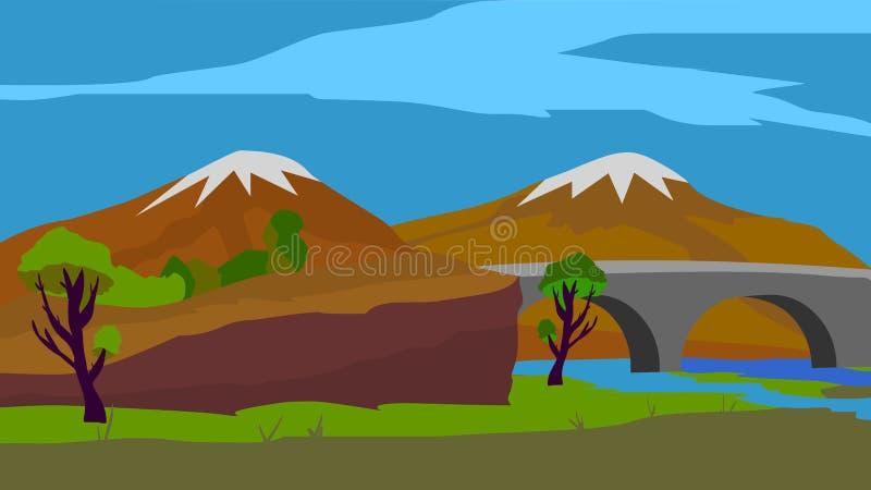 Fondo per l'animazione, il ponte e le montagne illustrazione vettoriale
