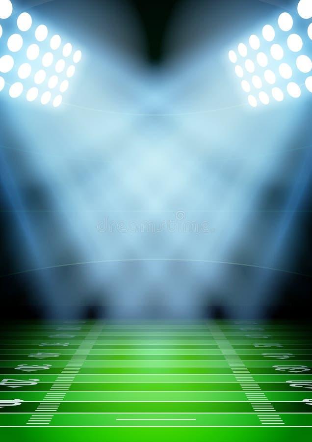 Fondo per lo stadio di football americano di notte dei manifesti dentro illustrazione di stock