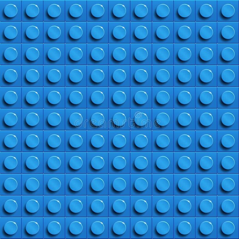 Fondo perfecto del lego del vector del bloque plástico del lego de la construcción del lustre del primer azul stock de ilustración