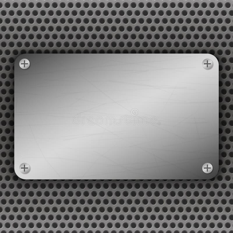 Fondo perforado del metal con la placa y los remaches Textura metálica del grunge Acero cepillado, plantilla superficial de alumi stock de ilustración