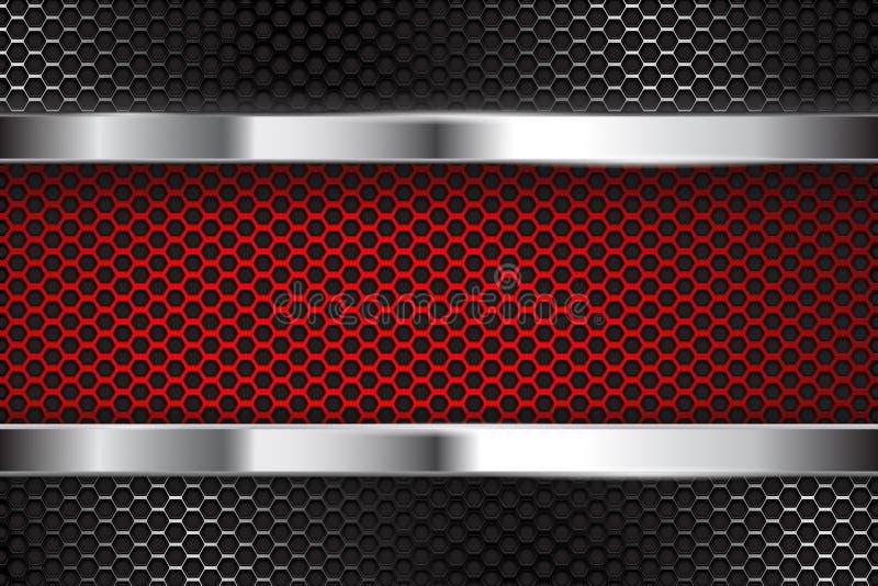 Fondo perforato del metallo con l'insegna rossa illustrazione di stock