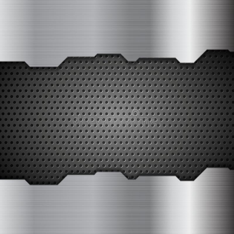 Fondo perforato di tecnologia di struttura del metallo illustrazione di stock