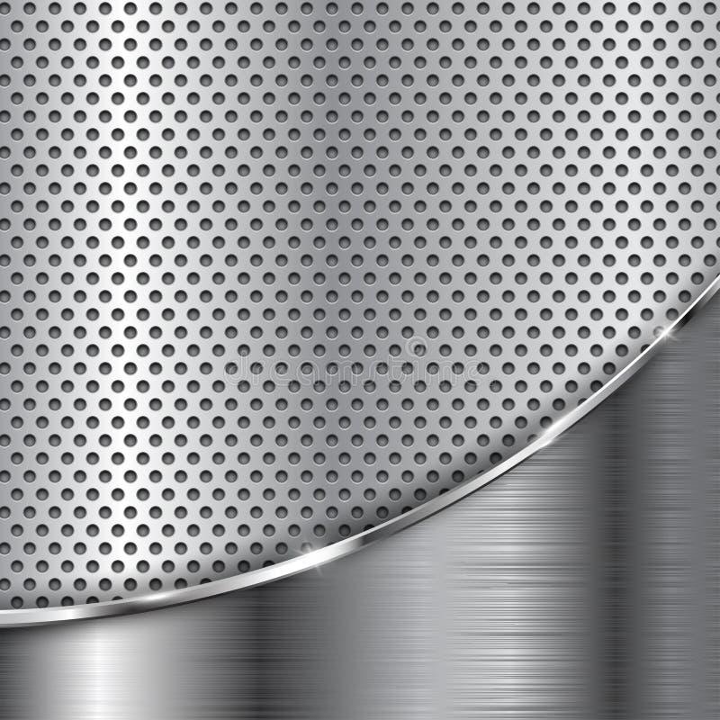 Fondo perforato metallo con l'onda del cromo illustrazione vettoriale