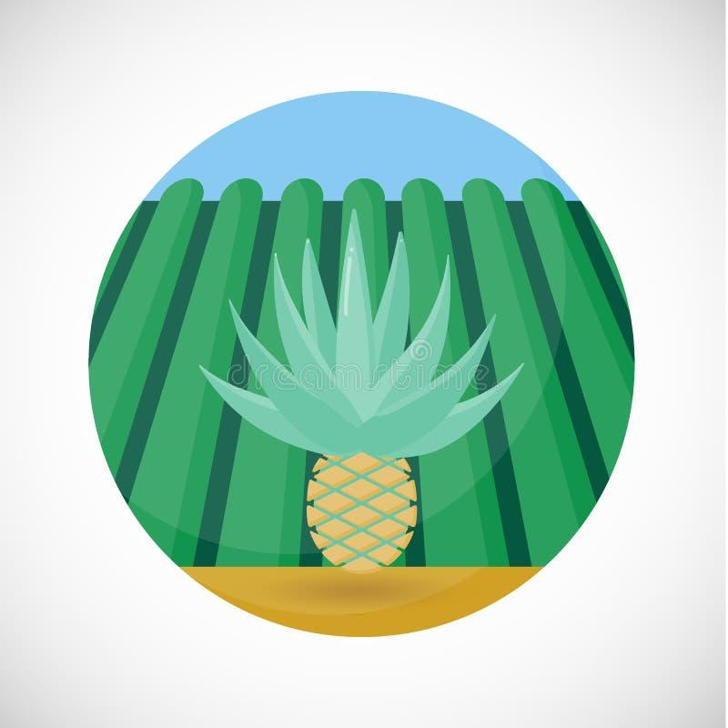 Fondo piano del campo dell'azienda agricola dell'icona di vettore del cuore dell'agave royalty illustrazione gratis