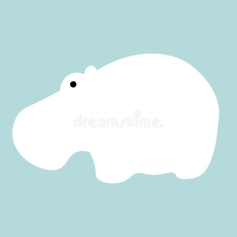 Fondo piano dell'animale dell'illustrazione dell'ippopotamo di vettore illustrazione vettoriale