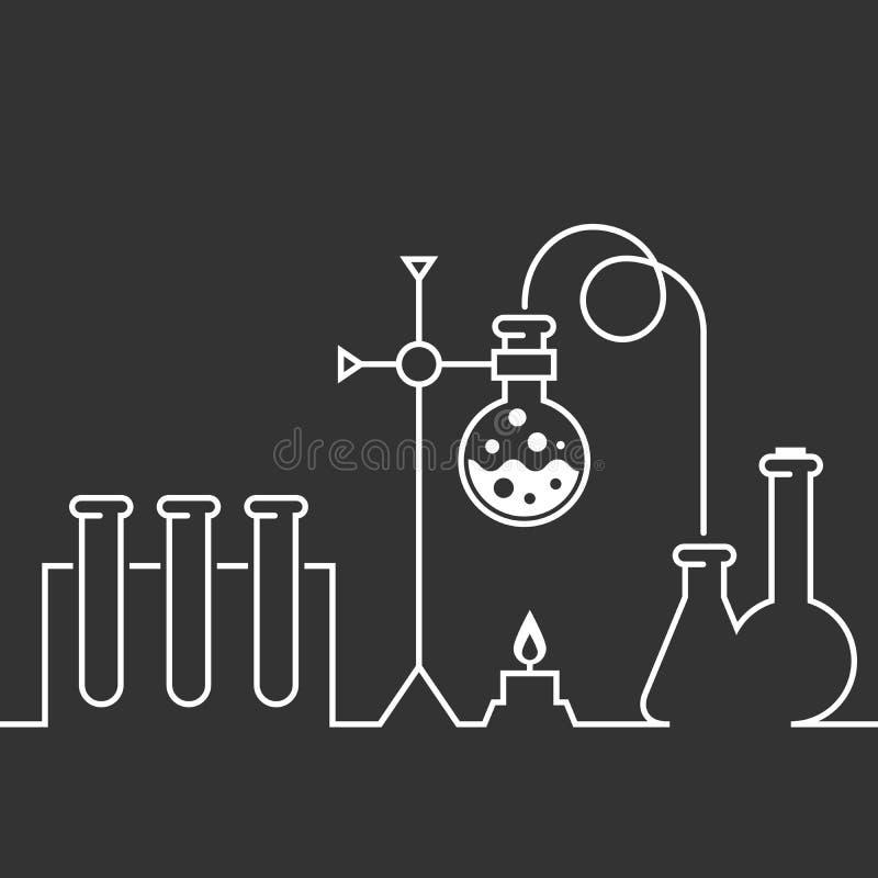 Fondo piano di stile del laboratorio chimico royalty illustrazione gratis