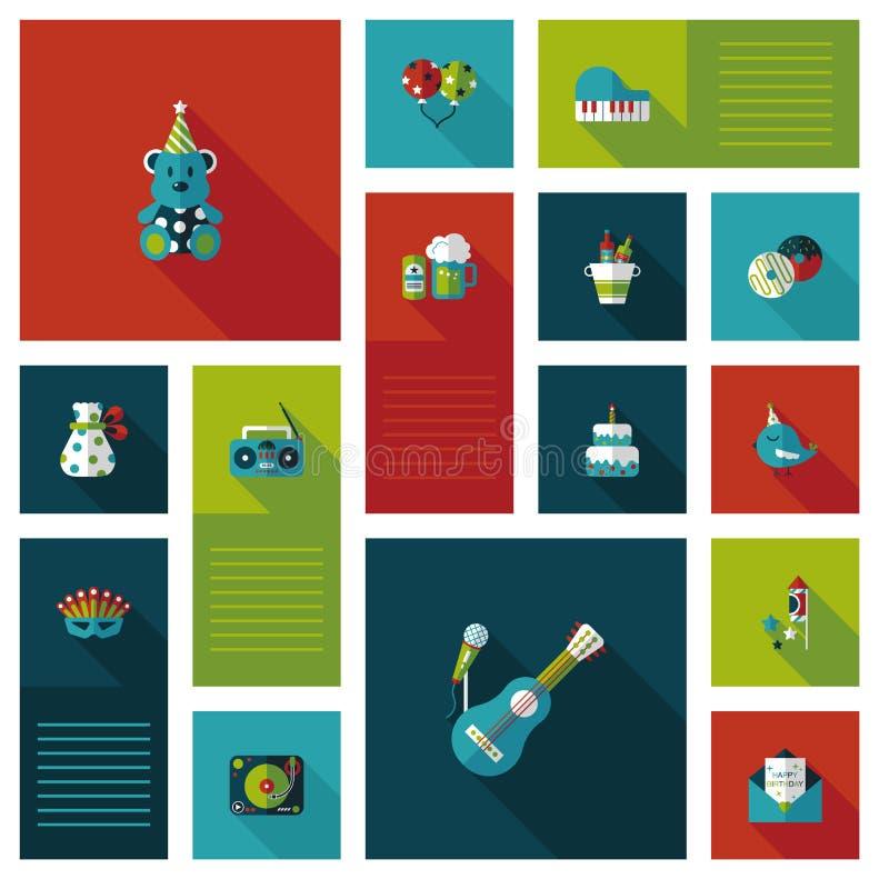 Fondo piano di ui di buon compleanno, eps10 illustrazione di stock