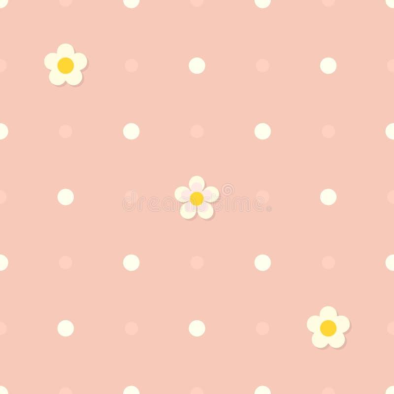 Fondo piano rosa senza cuciture sveglio con il modello di pois ed i fiori bianchi royalty illustrazione gratis