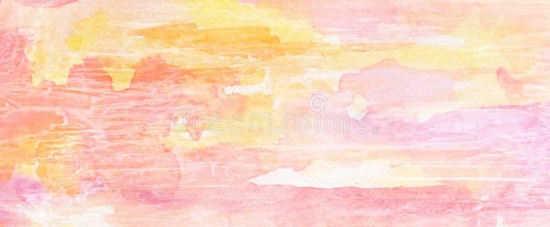 Fondo pintado con vieja textura de madera agrietada y granosa del grunge en púrpura del rosa y anaranjado amarillos ilustración del vector