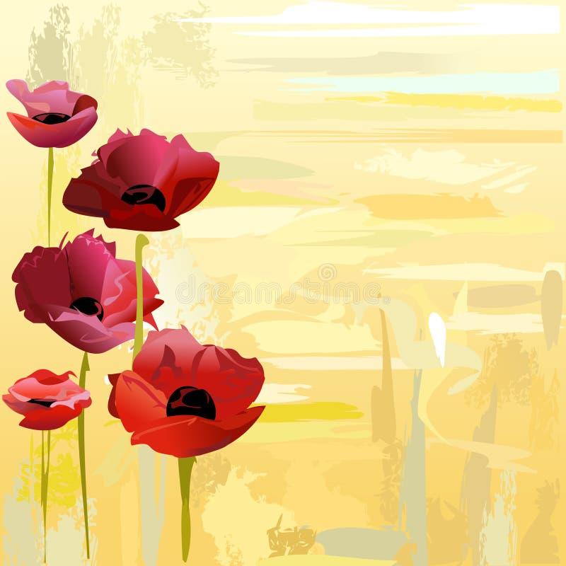 Fondo pintado de las amapolas libre illustration
