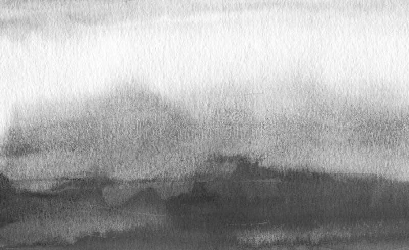 Fondo pintado mancha blanca /negra abstracta de la acuarela Texture el papel libre illustration