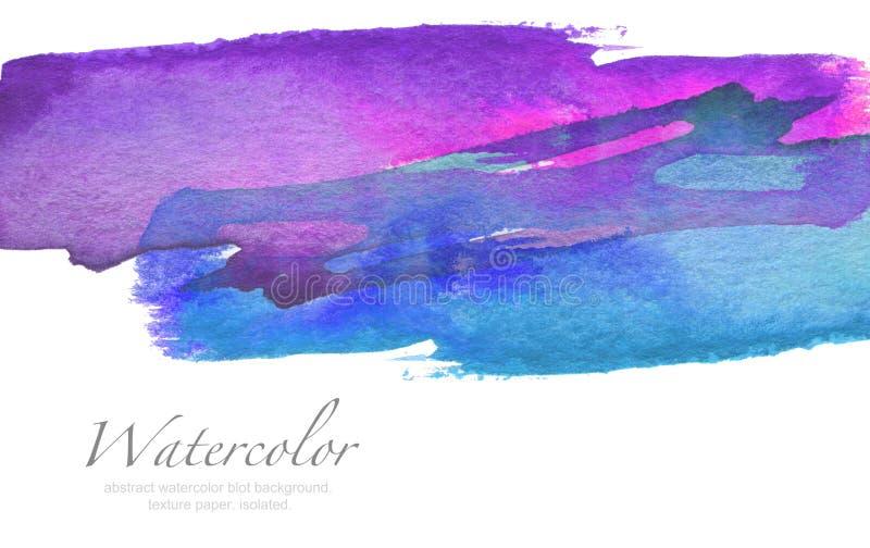 Fondo pintado mancha blanca /negra abstracta de la acuarela Texture el papel Aislador stock de ilustración