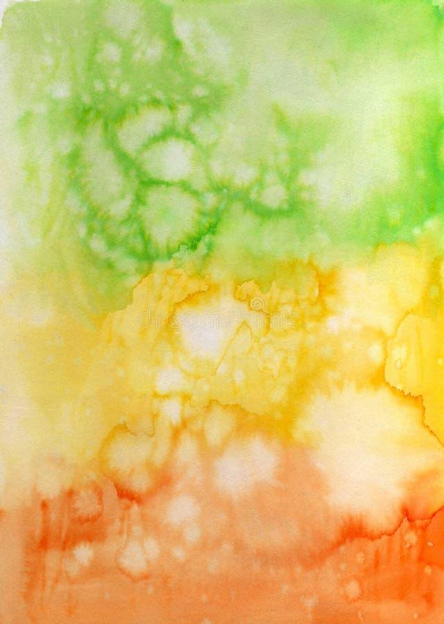 Fondo pintado a mano abstracto de la acuarela Textura colorida caótica decorativa para el diseño Imagen dibujada mano en el papel stock de ilustración
