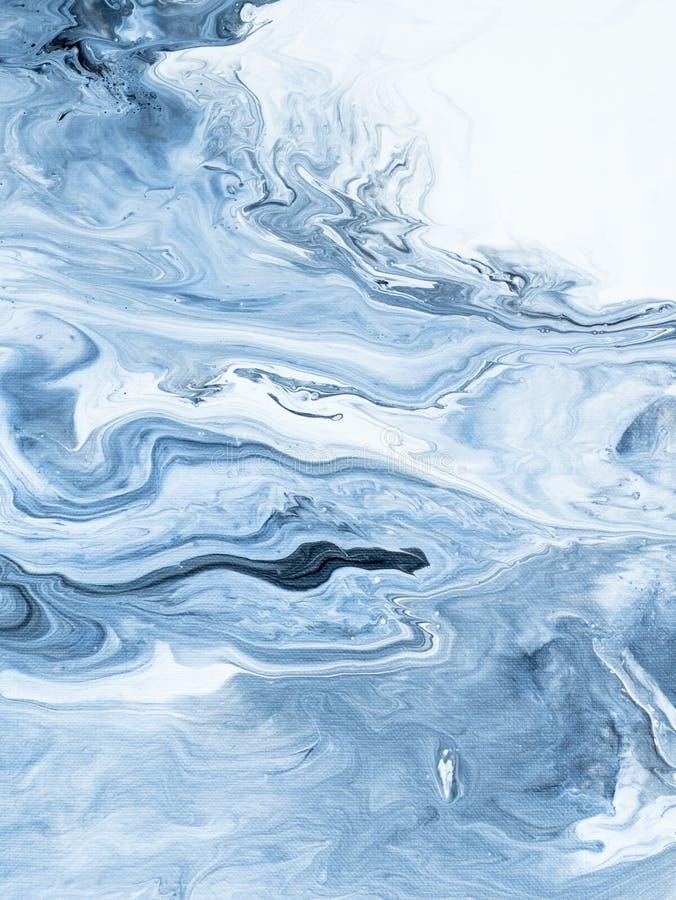 Fondo pintado a mano abstracto de mármol azul imagen de archivo libre de regalías
