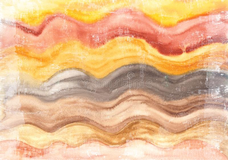 Fondo pintado a mano brillante de la acuarela Textura de papel envejecida hecha a mano El Grunge cubrió para las tarjetas, invita libre illustration