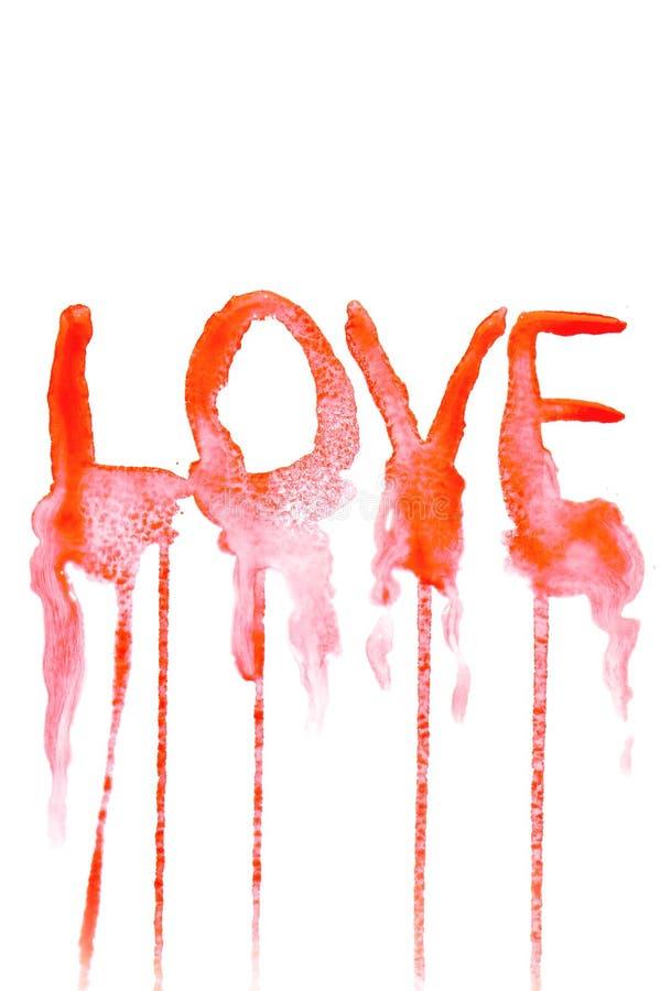 Fondo pintado a mano con el texto del amor. ilustración del vector