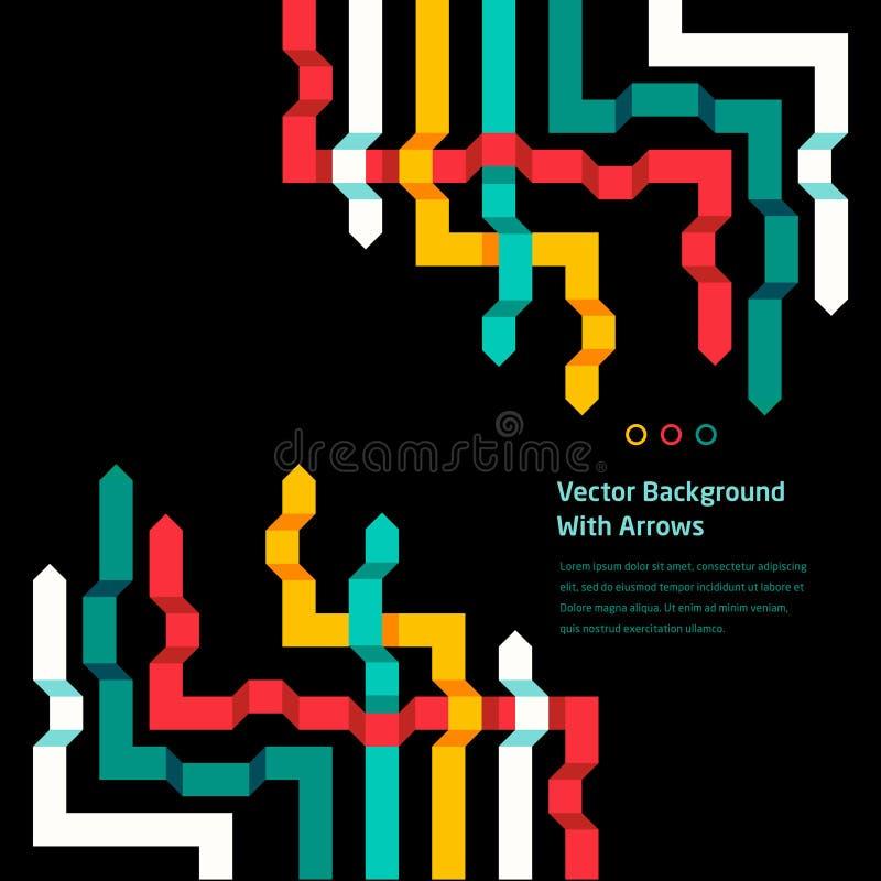 Fondo plano abstracto del vector con las flechas coloridas libre illustration