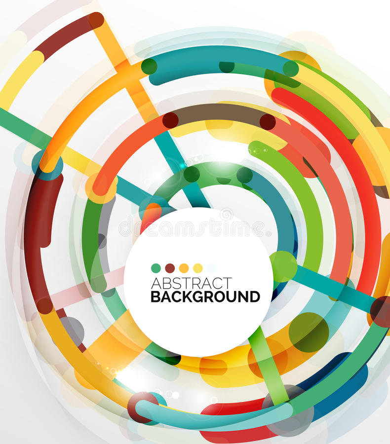 Fondo plano colorido del extracto del diseño Remolino y líneas formadas círculo en blanco stock de ilustración